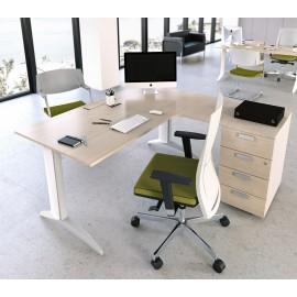 5th-Element 10 stylischer Büroschreibtisch, Eckschreibtisch zweifarbiges Gestell, Tisch Ahorn