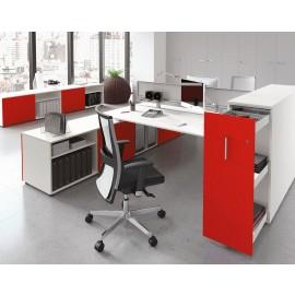 5th-Element 11 moderner Büro Team-Arbeitsplatz mit Sichtschutz und Schreibtischcontainer, zweifarbig