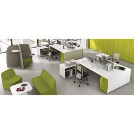 5th-Element 14 modern offenes Büro, Teamschreibtisch, Lounge Sitzecke, Ideenbereich, Schallschutzsofa