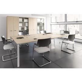 5th-Element 02 moderner Konferenztisch, Meetingtisch, Besprechungstisch in Ahorn, Alu mit Kabelklappen