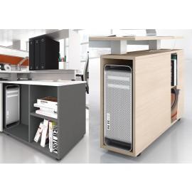 5th-Element 35 Details Stauraum mit PC-Halter, intelligent im Schreibtisch integriert