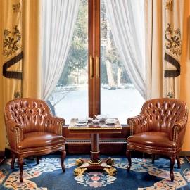 Admiral  09  klassich komfortable Leder- Besucherstühle mit edler Knopfsteppung