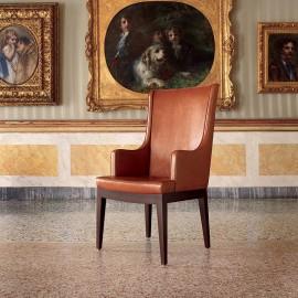 Aida 01 exklusiver Besucherstuhl, Leder-Stuhl, Armlehnen mit Leder gepolstert