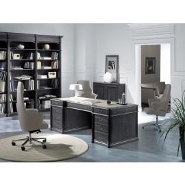 art&moble  02 klassiches Chefbüro, Chef-Schreibtisch im traditionell exklusiven Design mit Leder und Wurzelholz Einlagen