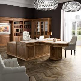 art-moble 05 Chef-Schreibtisch miz konferenztisch, Ledereinlage, klassisch traditionelles Design, italienischer Nussbaum, Komplettbüro mit Schrankwand modular