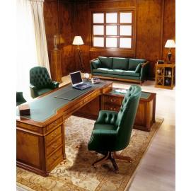 art&moble  06  klassiker Chef Eckschreibtisch mit Ledereinlage, traditionelles Intarsien Design, Kirsche, Schreibtisch mit Sattlerleder und Schubladen