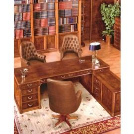 art&moble  07  klassischer Büro Eckschreibtisch, traditionelles Wurzelholz Design