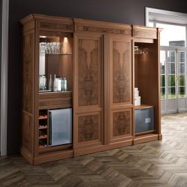 art&moble  11  exklusiv klassischer Büroschrank, Bücherschrank mit Minibar, Tresor und versenkbaren TV-Lift, elegant liebevoll designed, Wurzelholz Intarsien
