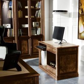 art&moble  14  PC Sideboard mit Ledereinlage, klassisches Design in Wenge und Wurzelholz, Computerschrank