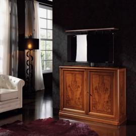 art&moble  19  Sideboard mit intergriertem, verborgenem Fernseher, klassisches Buffet, motorischer TV Lift, Wurzelholz Schrank