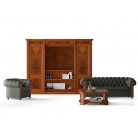 art&moble  20  Schrankkombination mit verborgenem Flachbild Fernseher und motorischem TV Lift,  klassisch mit Wurzelholz, Bücherschrank in Kirsche