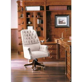 art&moble  22  Chefsessel klassisch in Leder mit Knopfsteppung und Fußgestell aus Holz, Kirsche