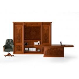 art&moble  28  Konferenztisch mit Zentralem Tischfuß (B:2,5m x 1,4m), Büro-Schrankwand, klassiches Design in Kirsche, Wurzelholz, Besprechnungstisch
