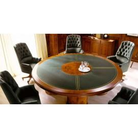 art&moble  29  runder Konferenztisch mit hochwertiger Ledereinlage (Ø:1,80m x H:78cm) exklusiv klassiches Design in Wurzelholz, hochwertiger Büro-Besprechnungstisch