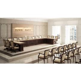 art&moble  36  Konferenzsaal, Moderatorentisch, Pult in Wenge und Elfenbeinfarbenem Leder