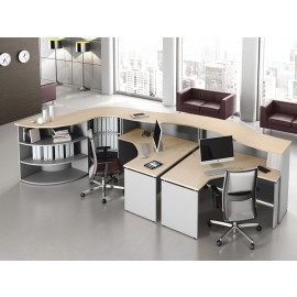 ASK 02 Büro Empfang, Schreibtischtresen, Rezeption, Stauraum und Ablagen für Ordner,  Farbe Ahorn und  Silber
