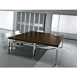 Cubiko 02 Chef Meetingtisch, Wenge, Chrom, Meetingraum
