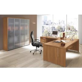 DELTAEVO 07 Büroeinrichtung komplett, Eckschreibtisch, Aktenschrank mit Glastüren satiniert