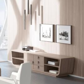 17 Design Sideboard modern in Eiche,  Schrank niedrig, Larus Chefzimmer
