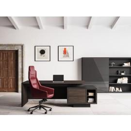 ELITE 03 Designer Schreibtisch mit integriertem Schubladencontainer und Kabelführung in Dekor Pappel dunkel, Monolith-Schrank mit Glasschiebtueren in London grau, die Struktur in schwarz (L: 245,1 x T:47,7 x H:127 cm)