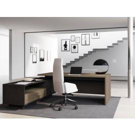 ELITE 04 Eck-Schreibtisch Furnierholz Ulme inkl. Kabelführung und 2xUSB Charger , Design Anbaucontainer, optional Schubfach elektrisch per  RFID Card  zu öffnen