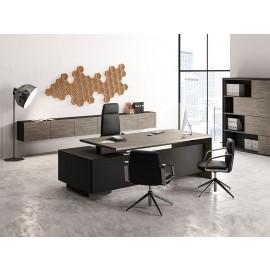 ELITE 05 Büro- Schreibtisch rechteckig mit Kabelführungssystem und integriertem Schubladen- Container, modulare Wandschränke, moderner Schiebtüren Aktenschrankschrank