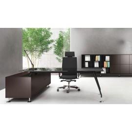 ENOSI-EVO 03 Design Chefschreibtisch n´mit Tisch-Serviceunit in Wenge