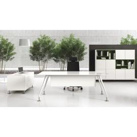 Enosi Evo 05 Chefzimmer, Glasschreibtisch in weiß, Fußgestell weiß, Ordnerschrank
