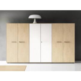 Enosi Evo 14 modularer Büro-Qrdnerschrank, Ahorn und weiß