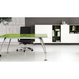 Enosi Evo 04 Ddesigner Glas-Konferenztisch, Glastischplatten mit Kabelöffnung in Chrom in der Mitte