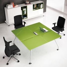 Enosi Evo 17 Glas-Schreibtisch, Meetingtisch in Pistazie und Crom, Mehrplatz-Schreibtisch