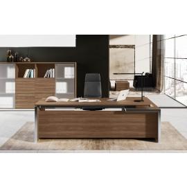 E.O.S 02 - hochwertiges Design Chefzimmer, Schreibtisch in Ulmenholz Dekor und  in Aluminium eingefassten Tischkanten