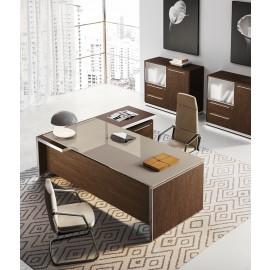 E.O.S.  03 - Winkelchefschreibtisch mit Glastischplatte in grau-beige, hochwertige Materialien, Dekor in Cacao, Tischkanten in  Alu