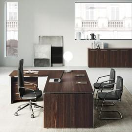 E.O.S  04 - moderner Design-Eckschreibtisch mit Beinsichtschutz geschlossen, Dekor hochwertig in dunkler Eiche, Aluminium Tischkanten