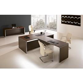 E.O.S. 10 - Chef Schreibtisch-geschlossen mit Frontmeeting Anbau in Cacao und Aluminium Tischkante