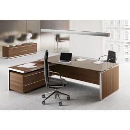 E.O.S  06 - Designer Chef Glasschreibtisch, Glastischplatte in grau-beige unterlackiert, hochwertig modern in Ulme Dekor