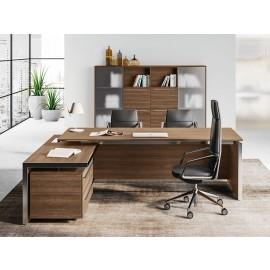 E.O.S 08 - Chefbüro mit Eckschreibtisch,  Winkelschreibtischlösung mit Seitenanbau und Schubladen, Ulme-und Alurahmen gebürstet
