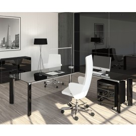 FILL HG 02 Design Chefzimmer, Glasschreibtisch, hochglanz Sideboard in schwarz