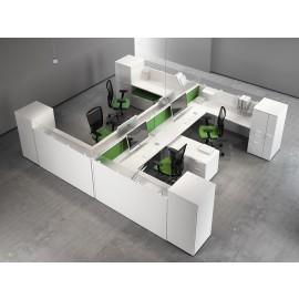 Fly 05 Teamarbeitplatz Büromöbel mit Akustik - Screens, Raumteiler, Schallschutz