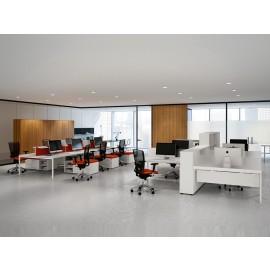 Fly 08 Teamarbeitsplatz Büro, individuelles Design, Wallnuss, Nussbaum