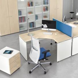 Format 06 Büro-Schreibtisch, platzsparender Mitarbeiter-Arbeitsplatz mit Akustikschutz