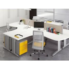 Format 07 moderner Sternarbeitsplatz, Teambüro Schreibtisch mit Akustikschutz