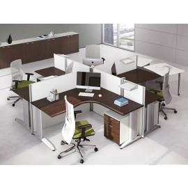 Format 13 Teamarbeitsplatz modern, Sternschreibtisch, Büro-Schreibtisch in Wenge