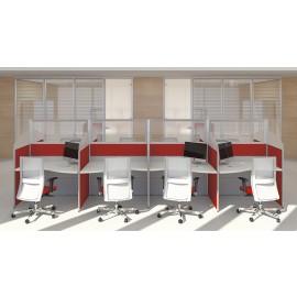 Format 21 Callcenter Schreibtisch, Büroschreibtisch mit Schallschutz