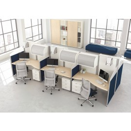 Format 23 Callcenter Arbeitsplatz, Tisch Stauraum, Schallschutz