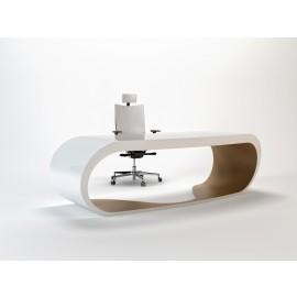 Goggle 07 exklusiver Schreibtisch white und dove-grey lackiert