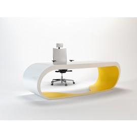 Goggle 09 Bürroschreibtisch hochglanz in weiss und mattgelb lackiert mit Schubfach