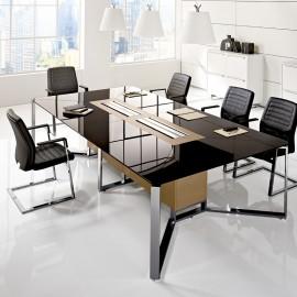I-MEET 02 Chefzimmer Konferenztisch, Glastisch mit Kabelmanagement und Kabelklappen