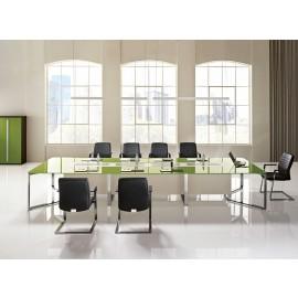 I-MEET 05 großer Design-Glaskonferenztisch, exklusiver Meetingtisch, Besprechungs-Tisch, Glasfarbe Pistazie, Chrom