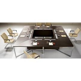 I-MEET 06 innovativ eleganter Chef-Konferenztisch, perfekt für Sitzungen, Tagungen, Besprechungen, Holzfarbe Wenge, Chrom